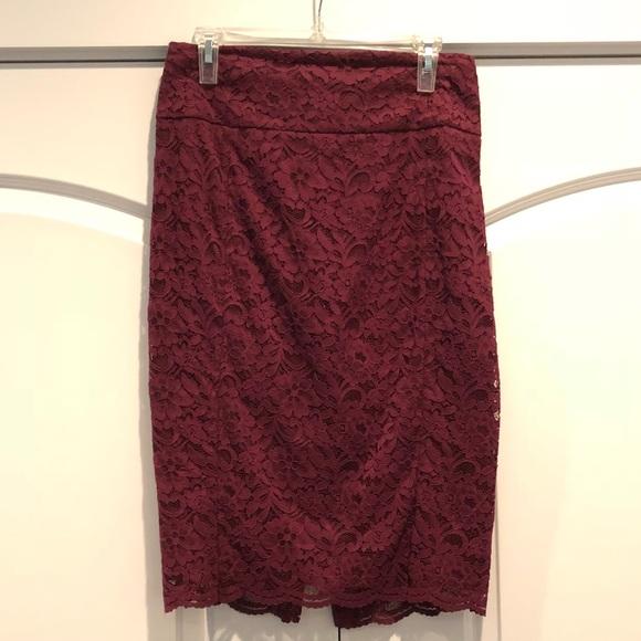 0b9c24f2bff27 Express Skirts | Burgundy Lace Pencil Skirt Nwt | Poshmark